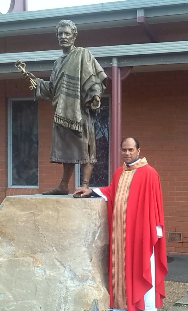 Fr.Pius with St.Peter statue