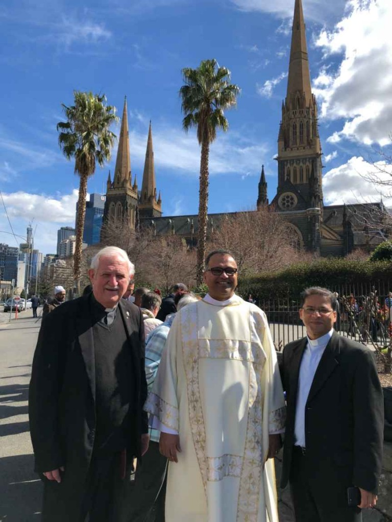 Dcn. Charles English, Dcn. Royden D'souza and Fr. Vincent John